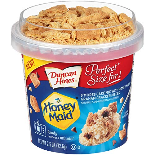 Duncan Hines Perfect Size for 1 Cake Mix, Ready in About a Minute, Honey Maid S'mores, 2.5 Ounce (Pack of 12)