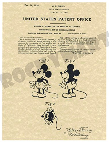 - 1930 Mickey Mouse Disney PATENT ART PRINT on High Quality Parchment Stock - Produced from Original US Patent File