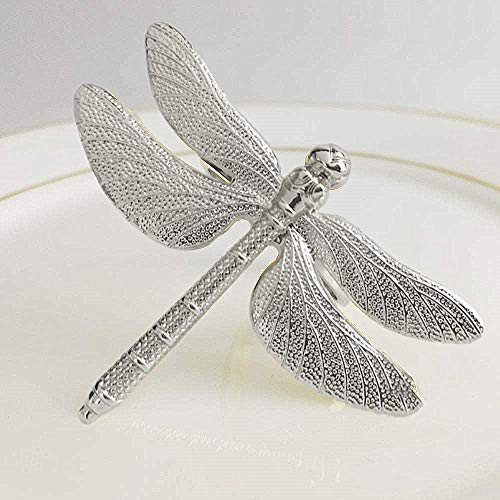 Silver Napkin Rings Set of 6 for Wedding Holiday, Metal Dragonfly Napkin Holders for Table Linens, Dining Kitchen Coffee Everyday Use Dinner Party Occasion