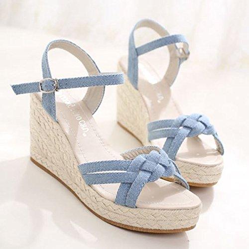 GTVERNH Carne Fresca De Verano Pequeña con Cuidado con La Parte Inferior Zapatos De Mujer De Una Pendiente con Taiwán Impermeable Sandalias De Paja, con 8.5Cm High Light Blue 37 37
