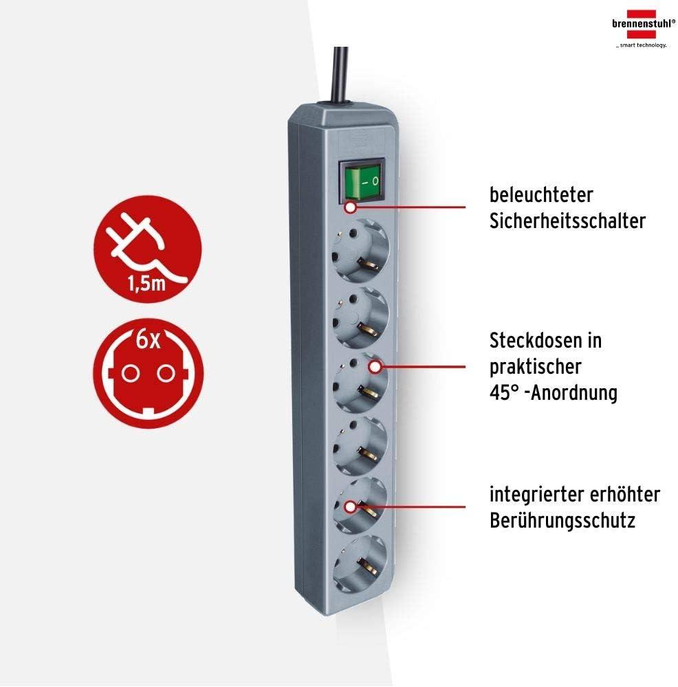 Amazon / MediaMarkt / Saturn - Brennenstuhl Eco-Line, Steckdosenleiste 6-fach (zweipoliger Schalter, 1.5m Kabel) ab 6,66€ inkl. Versand