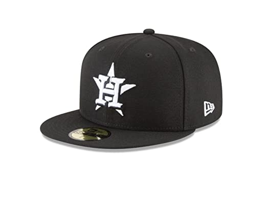 4eb7c3c08f4 New Era 59Fifty Hat MLB Basic Houston Astros Black White Fitted Baseball Cap  (6