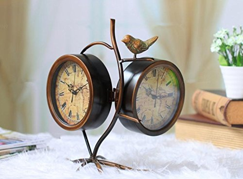 Hanging Desk Clock (Antique-Style Table/Desk Cloc k- Double-Sided Atlas W/Bird Twig)