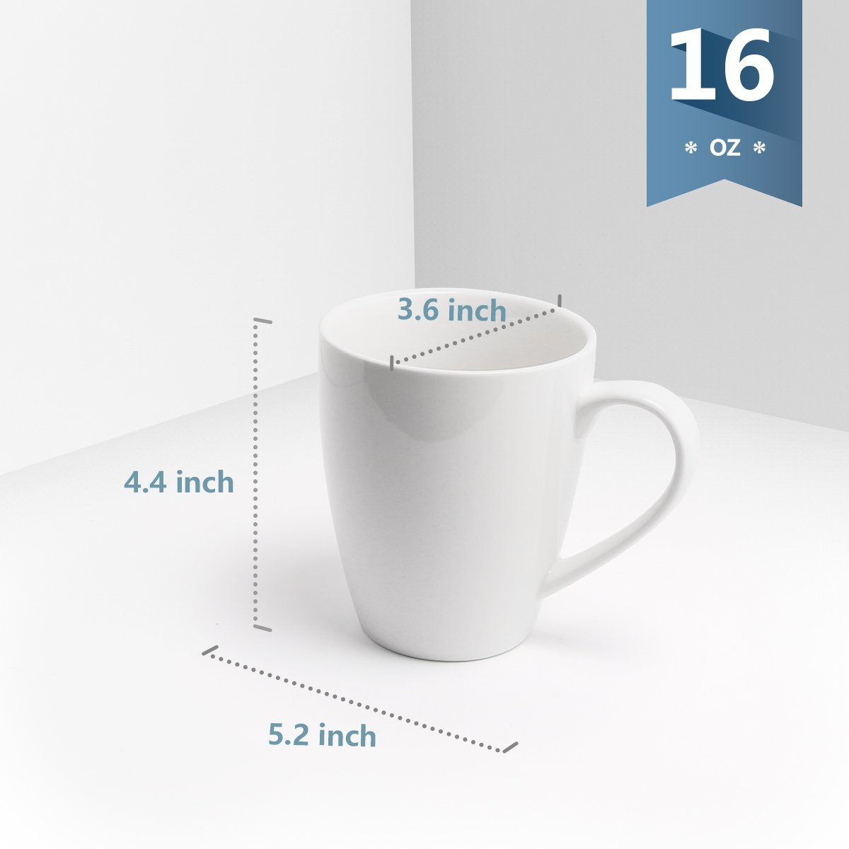 Sweese 6201 Porcelain Mugs - 16 Ounce for Coffee, Tea, Cocoa, Set of 6, White by Sweese (Image #4)