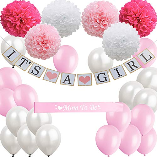 Baby Shower Decorations for Girl Set, It's a Girl Banner, White Pink Rose Red Paper Flower Pom Poms, White Pink Balloons, Mom to be Sash, Perfect for Indoor and Outdoor -
