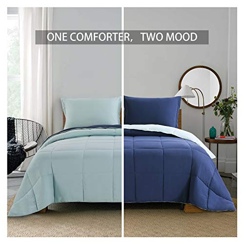 Homelike Moment Lightweight Comforter Set - Queen Navy Blue All Season Down Alternative Comforter Set Summer Duvet Insert 3 Piece - 1 Comforter with 2 Shams Reversible Full/Queen Size Navy/Light ()