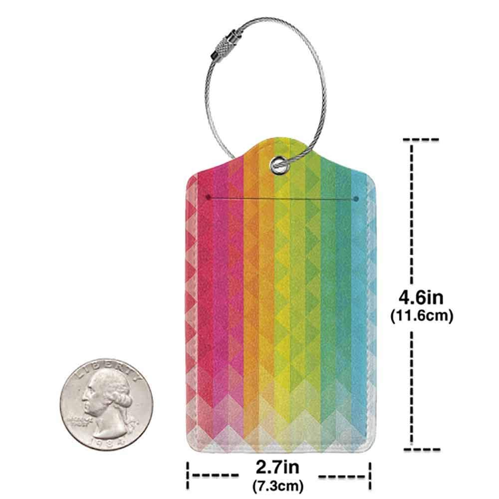 Multicolor luggage tag House Decor Collection Geometric Shapes Colorful Mosaic Pattern Retro Triangle Shapes Artful Image Hanging on the suitcase Orange Blue Green Magenta W2.7 x L4.6