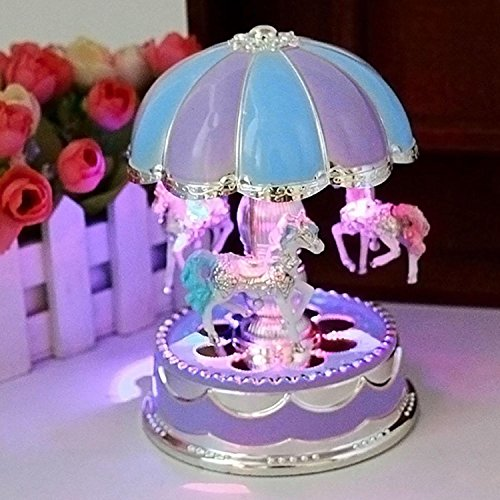 Dickin Beautiful Musical Rotating Horses Carousel Music Box on Self Riding ights and Sounds, Bump and Go Action - Great Gift Toy For Little Girls (Purple Carousel)