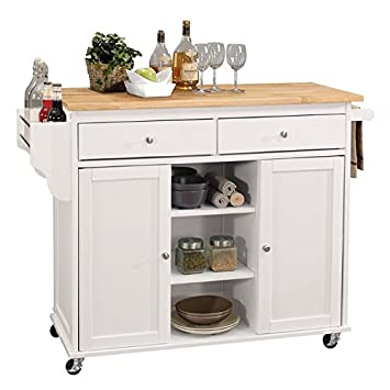 Amazon.com - BOWERY HILL Mobile Kitchen Island in Natural ...