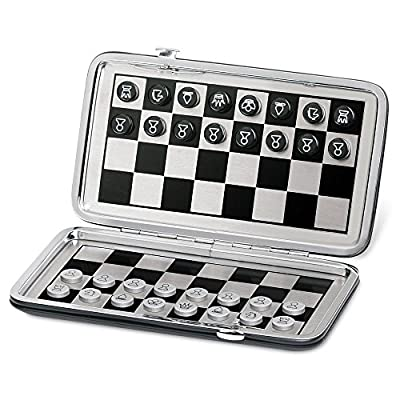 Oveelando backgammon Chess Magnetic Game Travel Case Outside with Black Leatherette for Kids and Family ?K