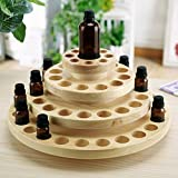 4 Tier Natural Wood Round Rotating Essential Oil Bottles Storage Display Rack