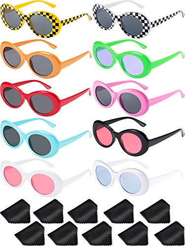 Blulu 10 Pairs Retro Clout Oval Goggles Mod Thick Frame Round Lens Sunglasses 10 Colors Women Men Girl Boy Sunglasses with 10 Lens Cloth