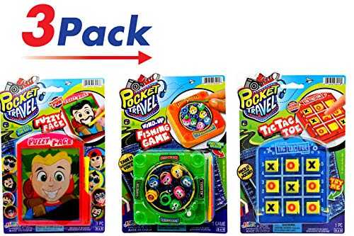 JA-RU Pocket Travel Games 3 Pack Tic Tac Toe, Magnetic Face , Magnetic Fishing and Collectable Bouncy Ball Items# E3