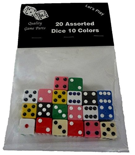 20 Assorted Dice 10 Colors 16 mm - Great for Gaming Casino N