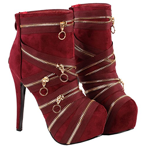 Boots Gothic Platform Show Wine Black Ankle Stiletto Zip Punk Bootie Red Story LF80845 qIqXwFz
