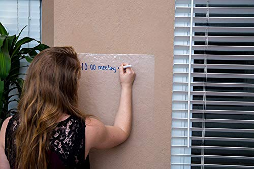 """Kassa Clear Dry Erase Board Sticker - 18'' x 78"""" (6.5 Feet) - 3 Dry-Erase Board Markers Included - Transparent White Board Film for Refrigerator, Desk, Office - Glass Whiteboard for Wall Alternative by Kassa (Image #6)"""