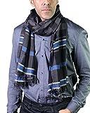 Anika Dali Men's Adam Check Stripe Scarf in Black, Grey & Blue