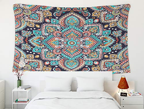 Crannel Halloween Indian Floral Paisley Medallion Pattern Ethnic Mandala Ornament Henna Tattoo Style Can be Tapestry 50x60 Inches Wall Art Tapestries Hanging for Dorm Room Living Home -