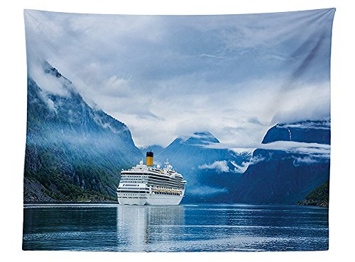 vipsung Cruise Ship Decorations Tablecloth Cruise Liners On Hardanger Fjorden Norway Mountain Summer Holidays Landscape Dining Room Kitchen Rectangular Table Cover