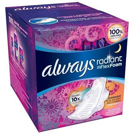 Always Radiant Overnight Pads with Wings,Clean Scent 11 Count per Pack (2 Pack)