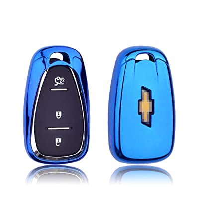 GEERUI Compatible with Chevrolet Key Fob Case Shell Cover TPU Protector Holder with Key Chain for Chevrolet Chevy 2020 2020 2020 2020 2016 Malibu Camaro Cruze Traverse Keyless Entry (Blue): Automotive