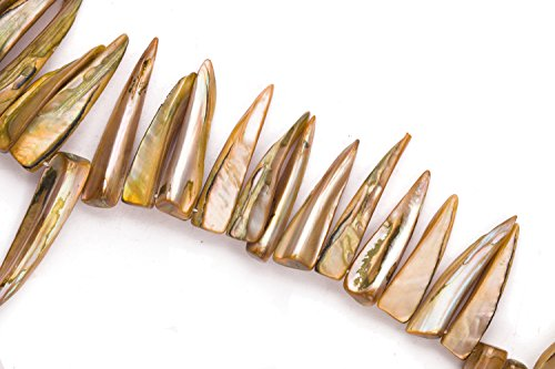 - Brown Mother-Of-Pearl Shark Tooth Shell Beads Size:35x8mm