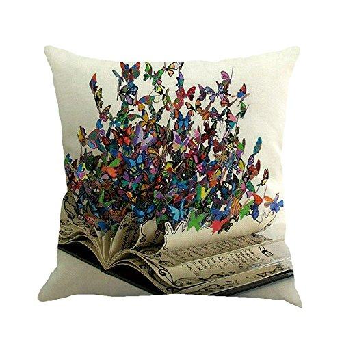"HITRAS Pillowcase Clearance - Butterfly Painting Linen Cushion Cover Throw Waist Pillow Case Sofa Home Decor 45cm45cm/1818"""