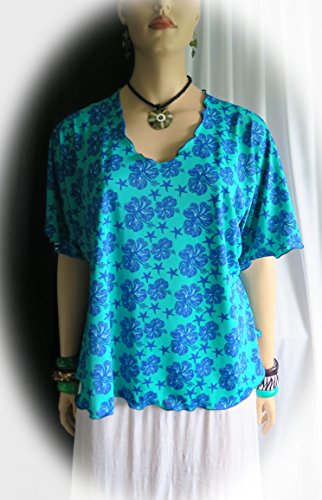 Hawaiian Star Hibiscus Women's Flair Blouse, Top, shirt - 1 Size Fits XL to 2XL - Plus Size Stretch- Made in Hawaii - Polynesian flair