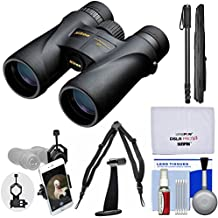 Nikon Monarch 5 10x42 ED ATB Waterproof / Fogproof Binoculars with Case + Harness + Smartphone Adapter + Tripod Adapter + Monopod + Cleaning Kit