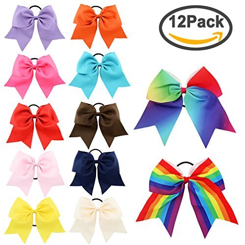 Jaciya 20 Pack 8' Women Girl Large Cheer Hair Bows Ponytail Holder Elastic Hair Ties Cheerleading Pony Tail Holder Elastic Head Loop For Women Girls Uniform Accessories