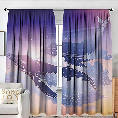 NUOMANAN Customized Curtains Whale,Whales Flying Dreamy Night Sky with Clouds Magical Fantasy Aquatic Design,Peach Lilac Dark Blue,Wide Blackout Curtains, Keep Warm Draperies, Set of 2 60