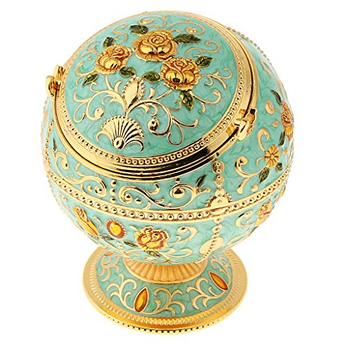 - Prettyia Zinc Alloy Jewelry Box with Lid Windproof Ashtray Vintage Flower Embossed Jewelry Box Trinket Case Jewelry Storage Home Decor - Green Rose