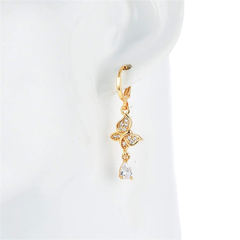 Bnialaed Dangle Earrings Fashion Women Girls Earrings Butterfly Gold Color CZ Drop Earrings Jewelry Gift