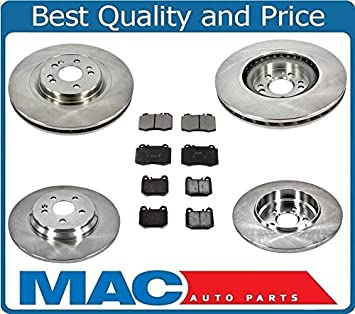 Fit Mercedes-Benz ML55 AMG ML430 Front Rear  Drilled Brake Rotors+Ceramic Pads