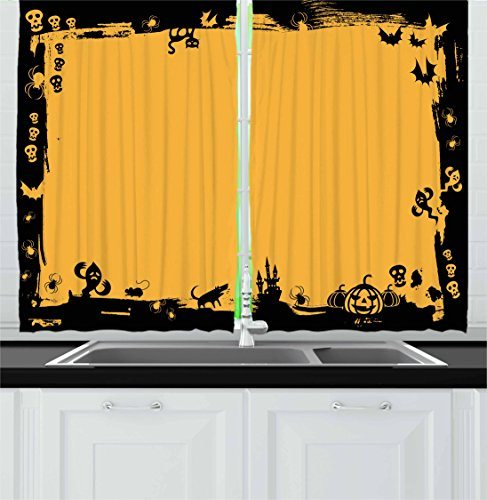 Halloween Kitchen Curtains by Ambesonne, Black Framework Borders with Halloween Icons Cats Bats Skulls Ghosts Spiders, Window Drapes 2 Panel Set for Kitchen Cafe, 55 W X 39 L Inches, Yellow Black