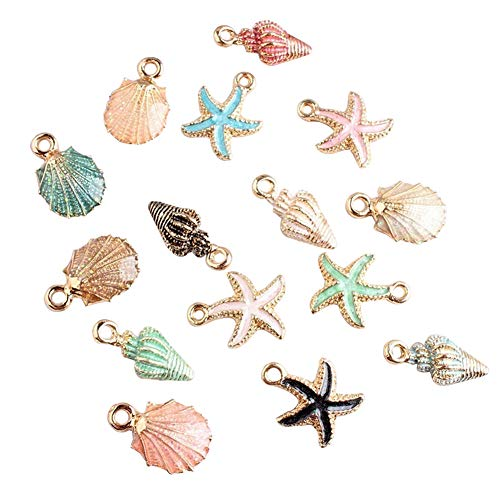 (BaoST 15 Pcs/Set Metal Jewelry Making Charm Mix Style Shell Conch Starfish Charms Pendant for DIY Jewelry Making Handmade Bracelet Necklace Key Chain Bag Accessories)