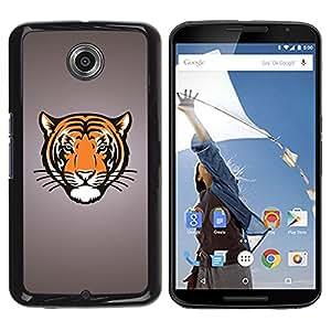 TopCaseStore / la caja del caucho duro de la cubierta de protección de la piel - Tiger Big Cat Crest - Motorola NEXUS 6 / X / Moto X Pro