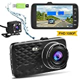 Dash Cam,Ssontong Dual Lens Car Front and Rear Channel Dashboard Camera Full HD 1080P,4.0' Screen,170 Degree Wide Angle Vehicle On-Dash Video Recorder Built in Night Vision,WDR,32GB SD Card Included