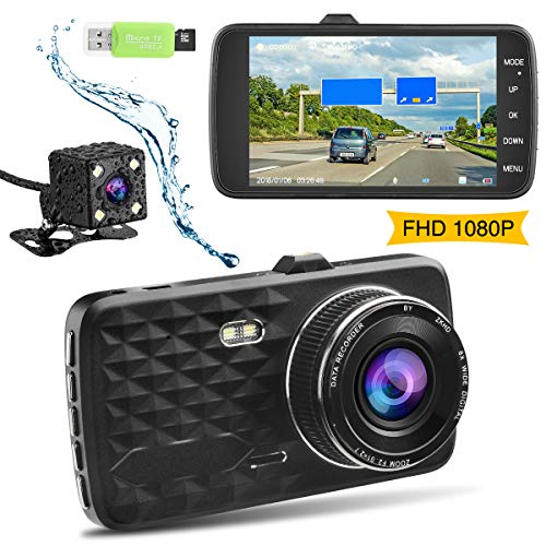 Dash Cam,Ssontong Dual Lens Car Front and Rear Channel Dashboard Camera Full HD 1080P,4.0″ Screen,170 Degree Wide Angle Vehicle On-Dash Video Recorder Built in Night Vision,WDR,32GB SD Card Included