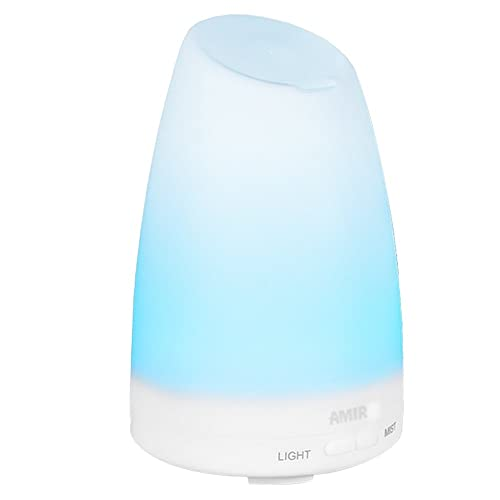 Mini USB Car Humidifier 300ml Portable Ultrasonic Cool Mist Humidifier Diffuser 2Modes Air Humidifier with 7 Colors LED Light, Mute and Auto Shut Off