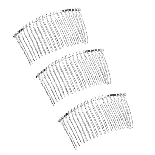 TinkSky 3pcs 78cm 20 Teeth Fancy DIY Metal Wire Hair Clip Combs Bridal Wedding Veil Combs Silver