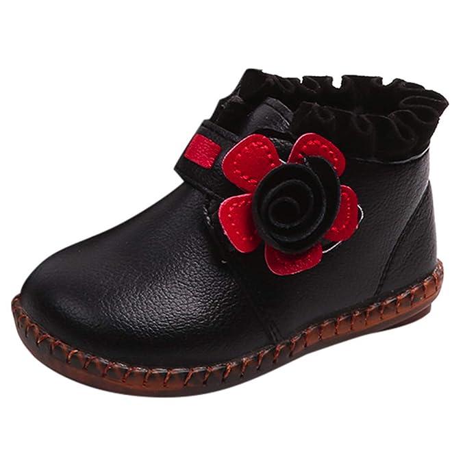 YanHoo Zapatos para niños Zapatos de otoño e Invierno Niñas de los niños más Botas de Terciopelo cálidas Botas Cortas con Cremallera Flores Viento británico ...