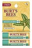 Burt's Bees 100% Natural Medicated Moisturizing Lip Balm with Menthol & Eucalyptus,0.15 ounce ( 2 Tubes)