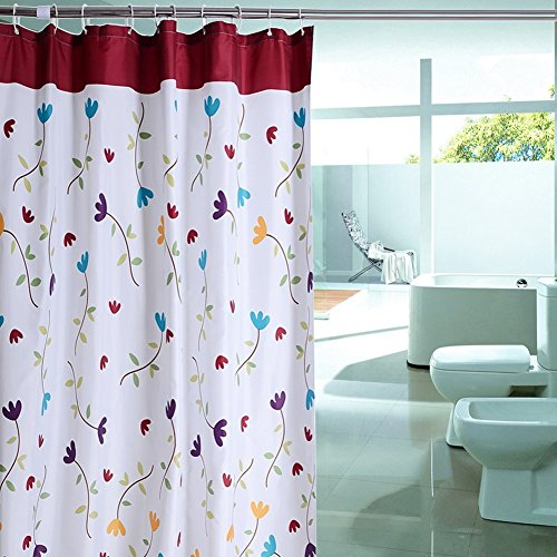 Cren® Water-Repellent Fabric Polyester Flower Shower Curtain Liner 72-inch by 72-inch + 12 Rings