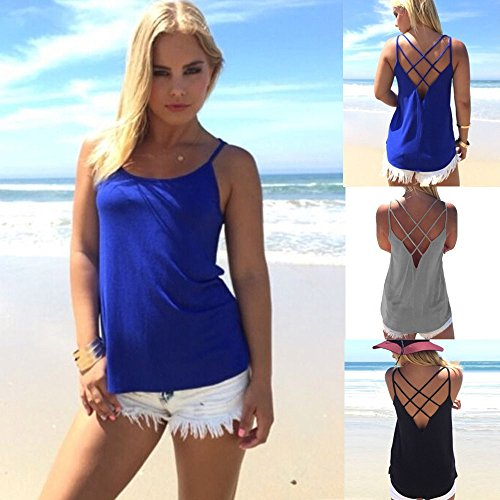 28d37ea8a23d78 Women's Cute Criss Cross Back Tank Tops Loose Round Neck Sleeveless Backless  Hollow Out Camisole Shirt