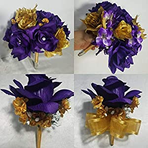 Purple Gold Rose Hydrangea Bridal Wedding Bouquet & Boutonniere 65