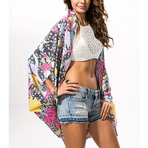 Zhhlaixing Moda Colorful Floral Pattern Summer Blouse Women Fashion Sunscreen Beach Blouse