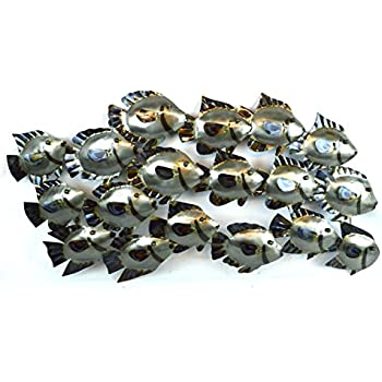 Elegant HUGE BEAUTIFUL UNIQUE Silver NAUTICAL SCHOOL OF FISH METAL WALL ART