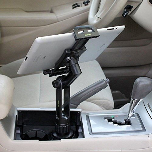 Cup Mount Holder iKross 2-in-1 Tablet and Smartphone Adjustable Swing Cradle with Extended Cup Car Mount Holder Kit for Apple iPad iPhone Samsung Asus Tablet Smartphone and Uber Lyft Driver - Black by iKross (Image #3)