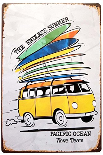 ERLOOD The Endless Summer Pacific Ocean Wave Team Tin Sign Retro Signs Decoration